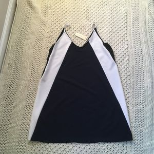 Elodie Navy and White Color Block Dress